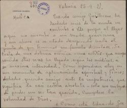 Carta de Leopoldo Magenti a Guillermo Fernández-Shaw, hablándole de la grave enfermedad de su madre, con otros comentarios de actualidad.