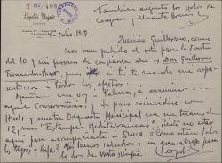Carta de Leopoldo Magenti a Guillermo Fernández-Shaw, delegando en él para la votación en una junta.
