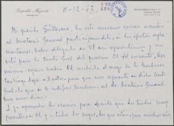 Carta de Leopoldo Magenti a Guillermo Fernández-Shaw, delegando en él para que le represente en las juntas de dos sociedades y anunciándole el envío de un obsequio.