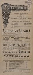 """Cartel del Teatro Principal, con la Compañía Cómica del Teatro Lara de Madrid, anunciando el estreno del sainete """"No somos nadie"""" de Carlos Fernández Shaw y Francisco Toro Luna."""