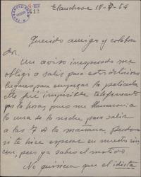 Carta de Jesús Romo a Guillermo Fernández-Shaw, justificando el no haber acudido a una cita y quejándose de ciertos comentarios de Sagi-Vela en la prensa, contra una obra de ambos.
