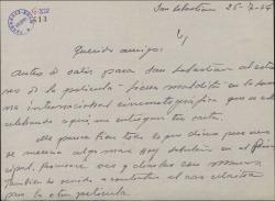 Carta de Jesús Romo a Guillermo Fernández-Shaw, sobre varios asuntos teatrales.