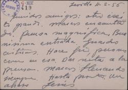Tarjeta postal de Jesús Romo a Guillermo y Rafael Fernández-Shaw, dando muy buenas noticias de la gira teatral desde Sevilla.