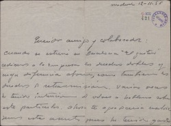Carta de Jesús Romo a Guillermo Fernández-Shaw, sobre un asunto económico.