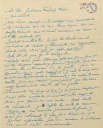 Carta de Ernesto Lecuona a Guillermo Fernández-Shaw dando noticias de sus avances en el trabajo de la obra que preparan en colaboración.