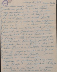 Carta de Ernesto Lecuona a Guillermo Fernández-Shaw, exponiendo sus preocupaciones por cierto contratiempo en sus planes teatrales.