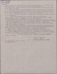 Carta de Ernesto Lecuona a Guillermo Fernández-Shaw, presentándole a su sobrino Fernando Lecuona, portador de la carta, y dándole noticias sobre su próximo viaje a España.