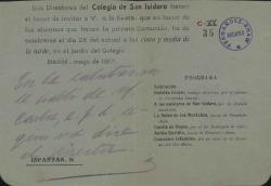 Fragmento de una invitación para una fiesta celebrada en el Colegio de San Isidoro, donde se recitaron poemas de Carlos Fernández Shaw. (Madrid)