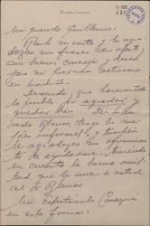 Carta de Ernesto Lecuona a Guillermo Fernández-Shaw, agradeciéndole sus consejos y sus ofrecimientos de ayuda, y describiendo detalladamente a los artistas que llevará consigo a España.