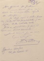 Carta de Ernesto Lecuona a Guillermo Fernández-Shaw, refiriéndose a un autor cubano que desea conocer a éste.