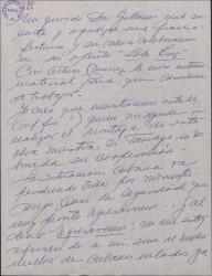 Carta de Ernesto Lecuona a Guillermo Fernández-Shaw, contestando a una suya sobre una colaboración de ambos y comentando la situación política en Cuba.