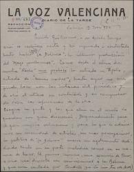 """Carta de Leopoldo Magenti a Guillermo Fernández-Shaw, haciendo una crítica detallada de la zarzuela """"La Dolorosa"""" que acaba de estrenarse."""