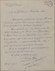 Carta de Juan Vidal Roda a Guillermo Fernández-Shaw, invitándole a una audición musical.
