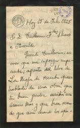 """Carta de Emilio Serrano a Guillermo Fernández-Shaw, hablándole de la obra de su padre """"La voz de la tierra""""."""