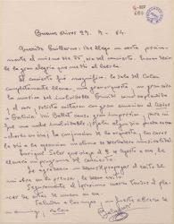 Carta de Francisco Balaguer a Guillermo Fernández-Shaw, notificándole el éxito de su concierto en Buenos Aires.