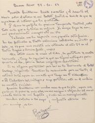 Carta de Francisco Balaguer a Guillermo Fernández-Shaw, agradeciendo gestiones a favor del cobro de un premio y pidiendo noticias de la temporada lírico-teatral en España.