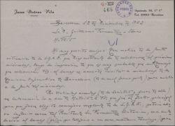 Carta de Juan Dotras Vila a Guillermo Fernández-Shaw, pidiéndole un favor relacionado con la Sociedad General de Autores de España.