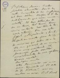 """Carta de Amadeo Vives a Federico Romero, diciéndole que tiene terminado el primer acto de """"La villana"""" y cambiando impresiones sobre el personaje de otra obra en proyecto."""