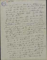 """Carta de Amadeo Vives a Guillermo Fernández-Shaw, anunciándole su próximo viaje a Paris, para ocuparse de la versión francesa de """"Doña Francisquita""""."""