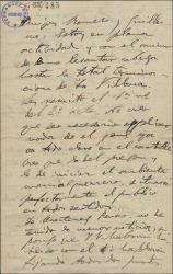 """Carta de Amadeo Vives a Federico Romero y Guillermo Fernández-Shaw, diciendo que está trabajando en """"La villana"""", felicitándoles por el éxito de """"El caserío"""" y haciendo comentarios irónicos sobre Jorge [?], un cantante."""