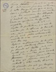 Carta de Amadeo Vives a Guillermo Fernández-Shaw, pidiéndole se asegure de que esté realmente firmado el contrato que esperan y dando informes de tenores cara a su posible contratación para la obra en que trabajan.
