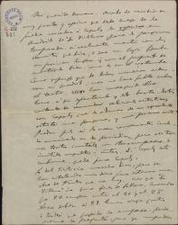 """Carta de Amadeo Vives a Federico Romero, aprobando que se le conceda a Miguel Casals la """"reprise"""" de """"La villana"""" en Madrid."""