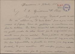 """Carta de Miguel Vila Piqué a Guillermo Fernández Shaw, diciéndole que fue al estreno de """"A todo color"""" y que le gustó mucho."""
