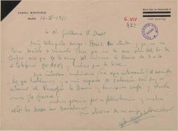 Carta de Daniel Montorio a Guillermo Fernández-Shaw, pidiendo le ayude en un asunto, deseándole éxito en un estreno en Barcelona y citándole para charlar sobre cierto proyecto.