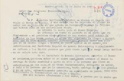 Carta de Francisco Balaguer a Guillermo Fernández-Shaw, sobre el cobro de una cantidad de dinero que quiere destinar a la financiación de un viaje a España desde Buenos Aires.