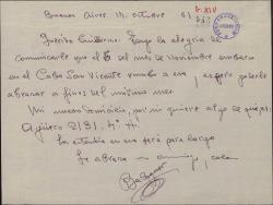 Carta de Francisco Balaguer a Guillermo Fernández-Shaw, comunicando su salida hacia España desde Argentina en fecha muy próxima.