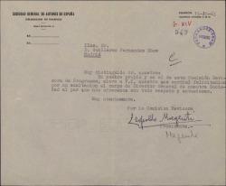 Carta de Leopoldo Magenti, como Presidente de la Comisión Revisora de la Sociedad General de Autores de España, a Guillermo Fernández-Shaw, felicitándole por su nombramiento como Director de dicha sociedad.