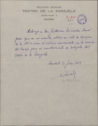 Autorización de Manuel Parada a Guillermo Fernández-Shaw para utilizar su voto de consejero en la Sociedad Anónima Teatro de la Zarzuela en la elección de Delegado.