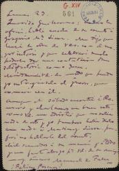 Carta de Manuel de Falla a Guillermo Fernández-Shaw, comunicándole que habló con Gregorio Martínez Sierra y que éste leerá su libro con el mayor interés.