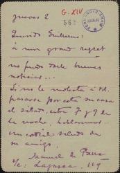 Carta de Manuel de Falla a Guillermo Fernández-Shaw, citándole en su casa.