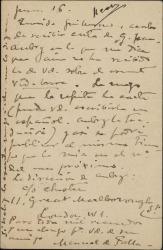 """Carta de Manuel de Falla a Guillermo Fernández-Shaw, rogándole escriba ya una carta a Jean Aubry sobre """"La vida breve"""" para enviársela con una suya sobre el mismo tema."""