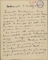 """Carta de Manuel de Falla a Guillermo Fernández-Shaw, comentando el escandaloso incumplimiento de contrato del Teatro Real para con la artista contratada para interpretar """"La vida breve"""" y su indignación por este tema."""