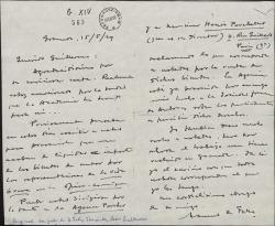 """Carta de Manuel de Falla a Guillermo Fernández-Shaw, comunicándole que le han liquidado los derechos por las representaciones de """"La vida breve"""" en Paris."""