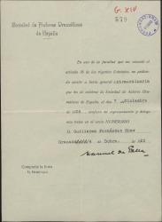 Recibo de Manuel de Falla delegando su voto en la Junta General de la Sociedad de Autores Dramáticos de España en Guillermo Fernández-Shaw.