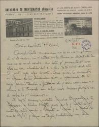Carta de Germán de Falla a Casto Fernández-Shaw, dandole noticias de su salud y de su próximo viaje a Madrid en el que espera poder verle a él y a Guillermo Fernández-Shaw.