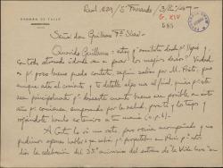 """Carta de Germán de Falla a Guillermo Fernández-Shaw, felicitándole el año nuevo y comentándole cuestiones referentes a los 35 años de """"La vida breve""""."""