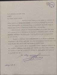 Carta de Ernesto Lecuona a Guillermo Fernández-Shaw, agradeciendo su ofrecimiento en relación con la televisión española.