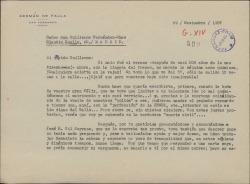 Carta de Germán de Falla a Guillermo Fernández-Shaw, quejándose de su mala salud, comentando su agradable encuentro con José María Gil Serrano y delegando en él su voto en la próxima Junta General de la Sociedad General de Autores de España.