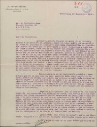 """Carta de José Vives a Guillermo Fernández-Shaw, lamentando que no le gustara la idea de convertir """"La villana"""" en una ópera y hablando sobre un nuevo contrato en exclusiva para """"Doña Francisquita"""" en francés."""