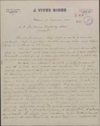 Carta de José Vives a Guillermo Fernández-Shaw, sobre temas de derechos de autor.
