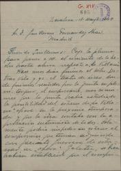 """Carta de José Vives a Guillermo Fernández-Shaw, poniéndole al corriente de lo hecho hasta el momento respecto a """"La villana"""" y su posible estreno en Barcelona."""
