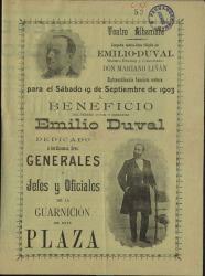 Programa de mano del Teatro Alhambra para la función extraordinaria a beneficio del actor Emilio Duval.