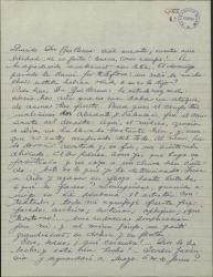 Carta de Ernesto Lecuona a Guillermo Fernández-Shaw, hablando de su mal estado de salud y de múltiples temas teatrales.