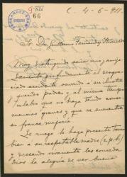 Carta de Bartolomé Pérez Casas a Guillermo Fernández-Shaw, lamentando la enfermedad de su padre, Carlos Fernández-Shaw, y deseando su pronta mejoría.