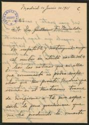 Carta de Bartolomé Pérez Casas a Guillermo Fernández-Shaw, dándole el pésame por la muerte de su padre, Carlos Fernández-Shaw.