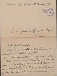 Carta de Luis Pujol a Guillermo Fernández-Shaw, pregúntandole en que fecha viajará a Barcelona.